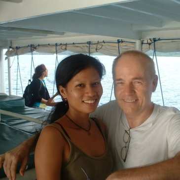 Finding happiness: Juvy and Rod Martin on boat to Bohol