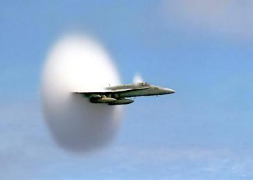Certainty: FA-18 Hornet, breaking sound barrier.