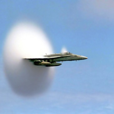 Certainty: FA-18 Hornet, breaking sound barrier.