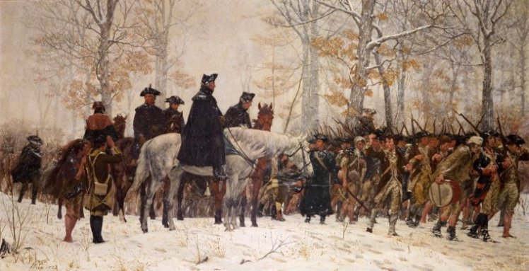 Humble Confidence: George Washington and men en route to Valley Forge. Symbol of humble confidence of heroes.