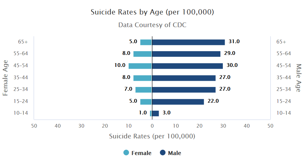Suicide rates by gender and age