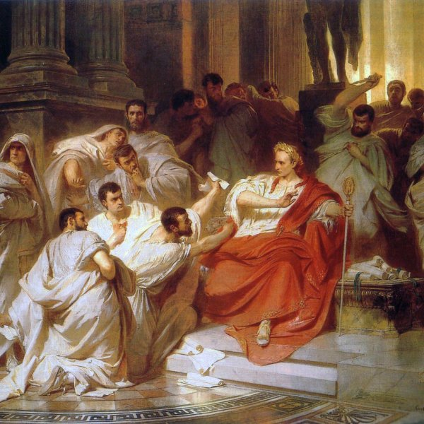 Assassination of Julius Caesar after a conspiracy between some 60 men.