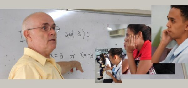 Rod Martin teaching college algebra, with inset pictures of students. Attempting to make math fun and easy.