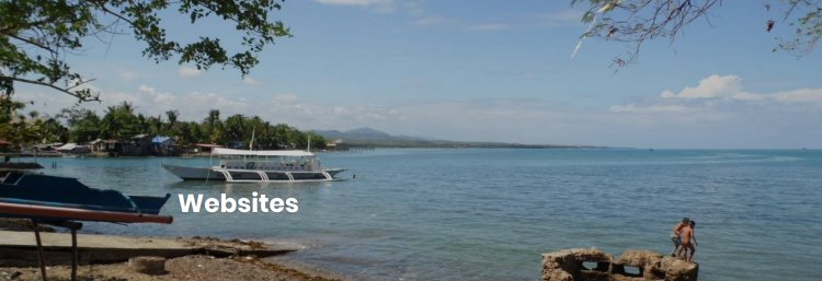 "Beach and ocean in Cebu. Banner art for ""Websites"" heading on Tharsis Highlands publisher website."