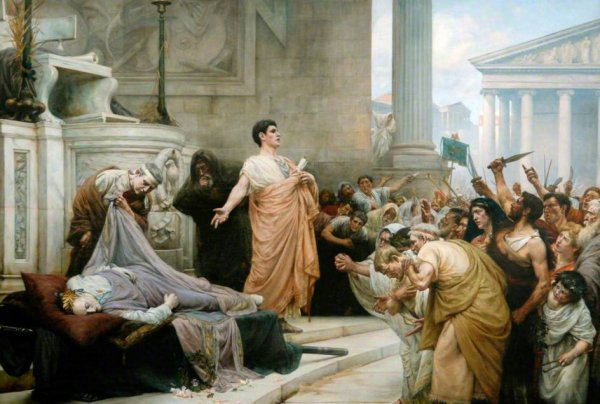 Marc Antony's speech at Julius Caesar's funeral. The end result of an evil conspiracy.