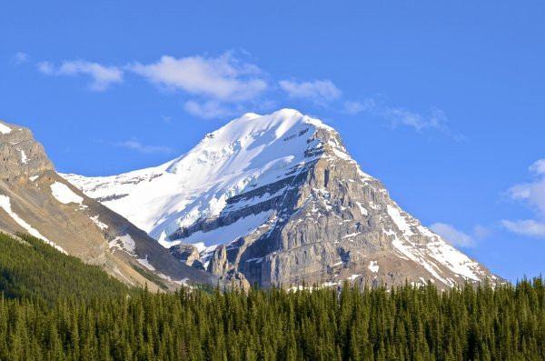 Snow-capped mountain. Calculating the peak's temperature can be done with math and science.