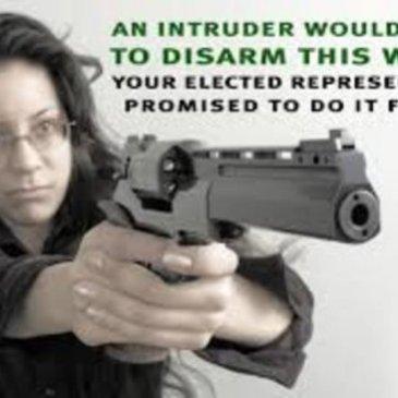 Woman with gun defending herself. Gun delusion says politicians will taker her gun.