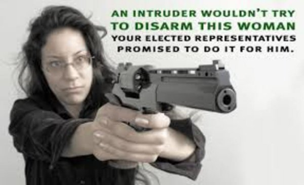 Gun control delusion meme. Woman pointing gun with caption telling how criminals don't have to disarm her; politicians will do it for them.