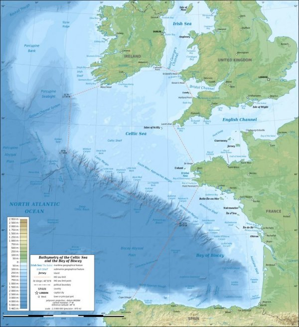Map of Celtic Shelf with Ireland, Great Britain and France