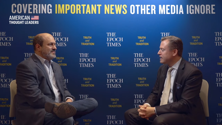 Jon Caldara, president of Independence Institute, Colorado, with The Epoch Times interviewerer.