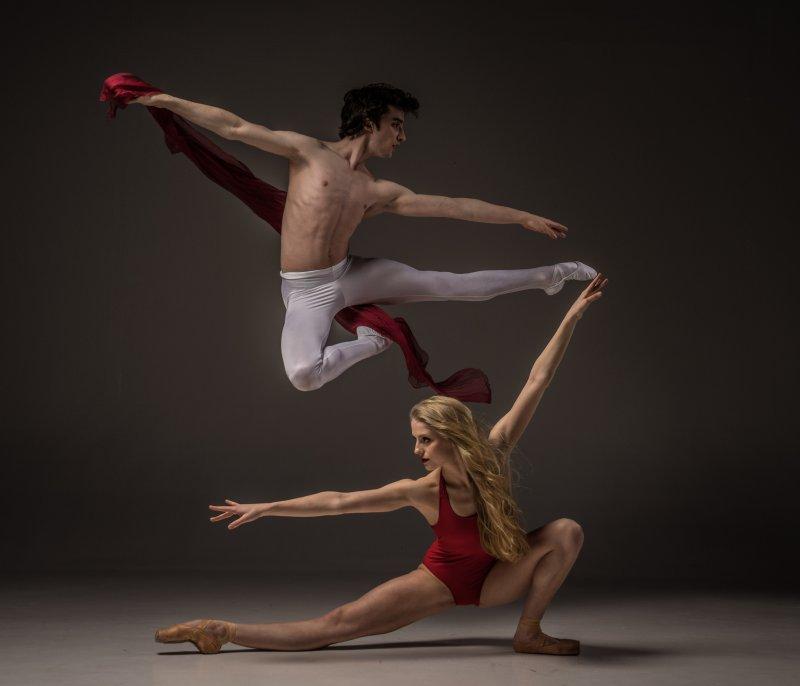 Dancers displaying flexibility.