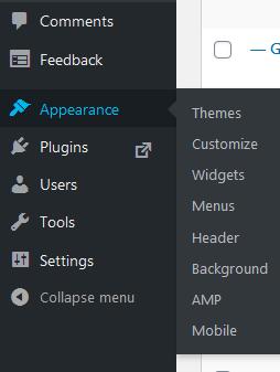 WordPress admin menu, widgets