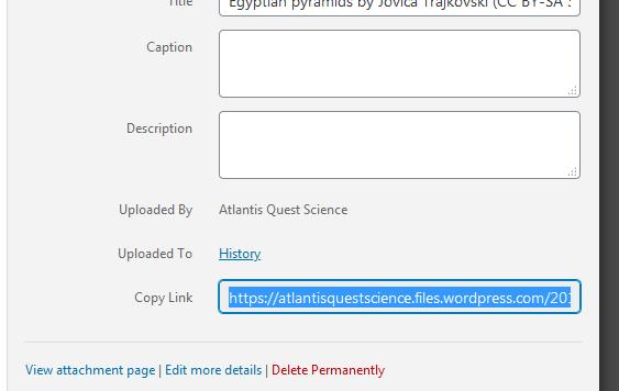 WordPress, media library, grabbing a picture's address.