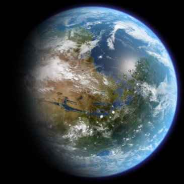 Terraformed Mars as seen from space