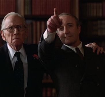 scene from Being There, with Peter Sellers and Melvyn Douglas