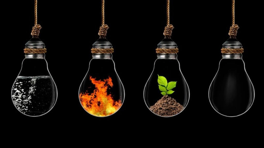 Four elements of the Ancient Greeks, representing the four dimensions of modern science.