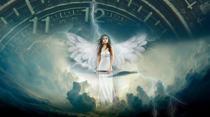 Angel with sword, amidst storms and clock striking 12.