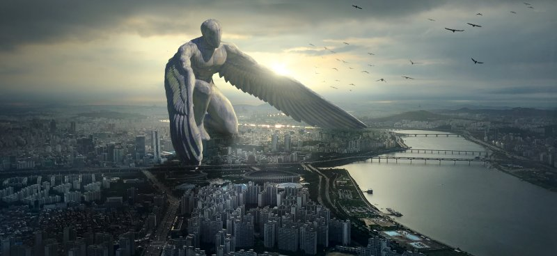 Guardian angel protecting the city