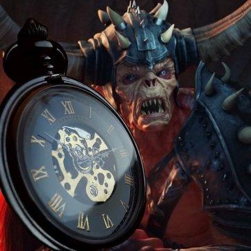 Prosperity Engine: pocket watch and Devil, symbols for evil time